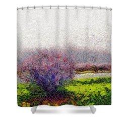 Burning Bush Shower Curtain by Spyder Webb
