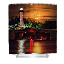 Burning Moon Rising Over Jupiter Lighthouse Shower Curtain by Justin Kelefas