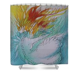 Shower Curtain featuring the drawing Burning Thoughts by Marat Essex