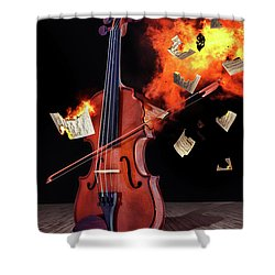 Burning With Music Shower Curtain