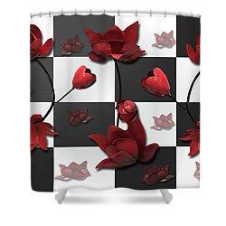 Burnt Crimson Flora Shower Curtain
