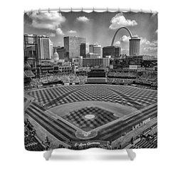 Busch Stadium St. Louis Cardinals Black White Ballpark Village Shower Curtain