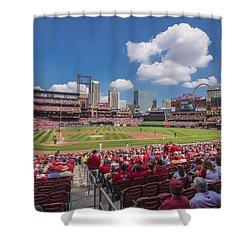 Busch Stadium St. Louis Cardinals Cardinal Nation Ballpark Village Day #2a Shower Curtain