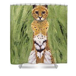Shower Curtain featuring the painting Bush Cat by Jamie Frier