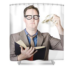 Businessman Tearing Pages From Book Shower Curtain by Jorgo Photography - Wall Art Gallery