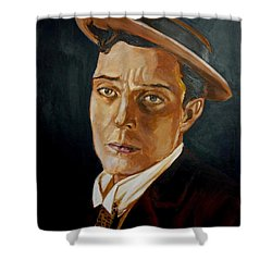 Buster Keaton Tribute Shower Curtain by Bryan Bustard