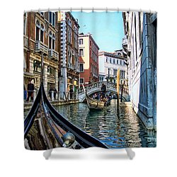 Shower Curtain featuring the photograph Busy Canal by Roberta Byram
