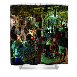 Shower Curtain featuring the photograph Busy Chennai India Flower Market by Mike Reid