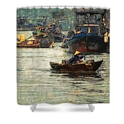 Shower Curtain featuring the digital art Busy Hoi Ahn Dawn by Cameron Wood
