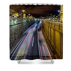 Busy Night In Barcelona Shower Curtain