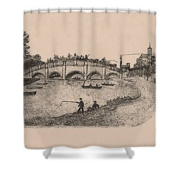 Busy Richmond Bridge And Fishermen Shower Curtain
