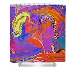 Shower Curtain featuring the painting  Fun Art But Mom by Sherri  Of Palm Springs