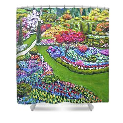 Shower Curtain featuring the painting Butchart Gardens by Amelie Simmons