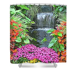 Shower Curtain featuring the photograph Butchart Gardens Waterfall by Wendy McKennon