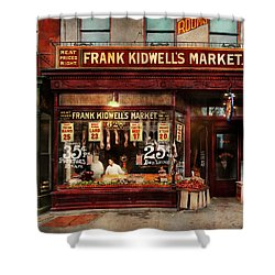 Shower Curtain featuring the photograph Butcher - Meat Priced Right 1916 by Mike Savad