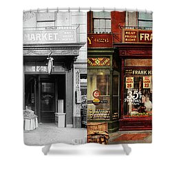 Shower Curtain featuring the photograph Butcher - Meat Priced Right 1916 - Side By Side by Mike Savad
