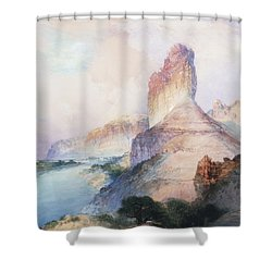 Butte Green River Wyoming Shower Curtain by Thomas Moran