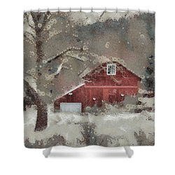 Shower Curtain featuring the mixed media Butter Lane by Trish Tritz