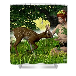 Buttercup Fairy And Forest Friends Shower Curtain by Corey Ford