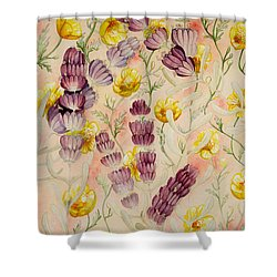 Buttercups And Lavendar Shower Curtain