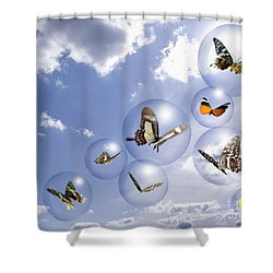 Butterflies And Bubbles Shower Curtain