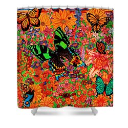 Butterflies And Flowers Shower Curtain by Nick Gustafson