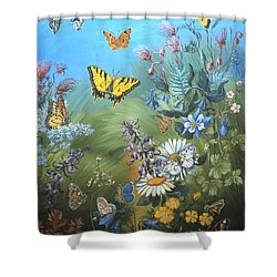 Butterflies And Wildflowers Of Wyoming Shower Curtain by Dawn Senior-Trask