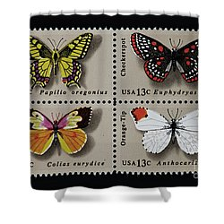 Butterflies Postage Stamp Print Shower Curtain