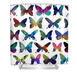 Butterflies Shower Curtain by Varpu Kronholm