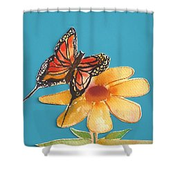 Shower Curtain featuring the painting Butterflower by Denise Fulmer