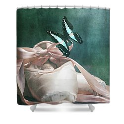 Butterfly And Ballerina Pointe Shoes Shower Curtain