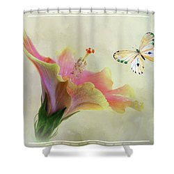 Butterfly And Fiesta Hibiscus Shower Curtain