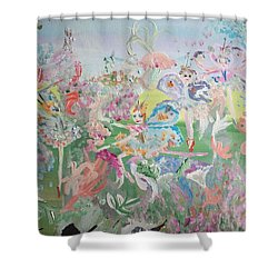 Shower Curtain featuring the painting Butterfly Ballet Reflectance by Judith Desrosiers