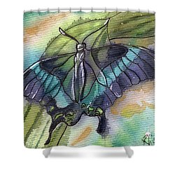 Butterfly Bamboo Black Swallowtail Shower Curtain