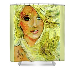 Butterfly Blonde Shower Curtain by P J Lewis