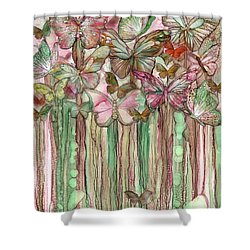 Shower Curtain featuring the mixed media Butterfly Bloomies 1 - Pink by Carol Cavalaris