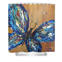 Butterfly Blue Shower Curtain