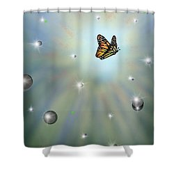 Shower Curtain featuring the digital art Butterfly Bubbles by Darren Cannell