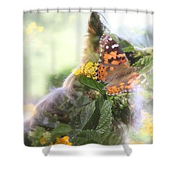 Butterfly Dog Shower Curtain