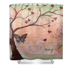 Butterfly Fairy Heart Tree Shower Curtain
