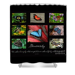 Shower Curtain featuring the photograph Butterfly Generosity Collage by Diane E Berry