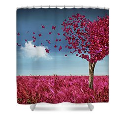 Butterfly Heart Tree Shower Curtain