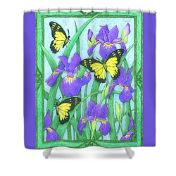 Butterfly Idyll-irises Shower Curtain