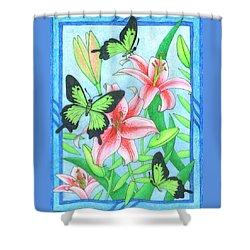 Butterfly Idyll- Lilies Shower Curtain
