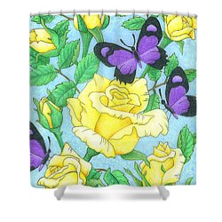 Butterfly Idyll-roses Shower Curtain