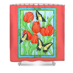 Butterfly Idyll-tulips Shower Curtain