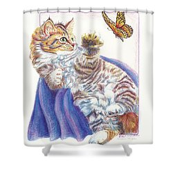 Shower Curtain featuring the drawing Butterfly Kitten by Sherry Shipley