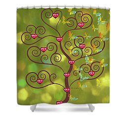 Butterfly Of Heart Tree Shower Curtain