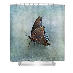 Shower Curtain featuring the photograph Butterfly On Blue by Sandy Keeton