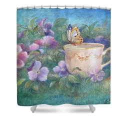 Butterfly On Teacup Shower Curtain
